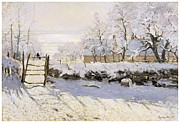 Snow-covered Landscape Painting Framed Prints - The Magpie Snow Effect Framed Print by Claude Monet