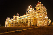 Karnataka Art - The Maharajahs Palace at night in Mysore India by Robert Preston