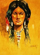 Indian Maiden Paintings - The Maiden ll by Al Brown