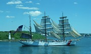 Wooden Ship Digital Art Posters - The Majestic US Coast Guard Poster by John Malone