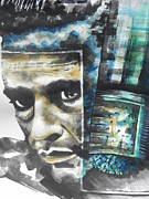 Blues Singers Paintings - The Man In Black  Singer Johnny Cash by Chrisann Ellis