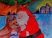 Rudolph Mixed Media Prints - The Man In the Red Suit and A Red Nosed Reindeer Print by Helena Bebirian