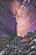 Sacrifice Mixed Media Originals - The Man On The Cross by Alys Caviness-Gober