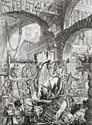 Below Framed Prints - The Man on the Rack plate II from Carceri dInvenzione Framed Print by Giovanni Battista Piranesi