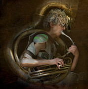 Fusion Photography Posters - The man - The Tuba Poster by Jeff Burgess