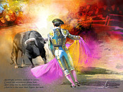 Bullfight Paintings - The Man Who Fights The Bull by Miki De Goodaboom