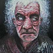 Homeless Painting Posters - The Man with Foggy Eyes Poster by Shirl Theis