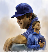 Yankee Legend Don Mattingly Drawings Metal Prints - The Manager  Don Mattingly Metal Print by Iconic Images Art Gallery David Pucciarelli