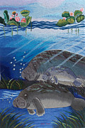 Florida Tapestries - Textiles Prints - The Manatees hand embroidery Print by To-Tam Gerwe