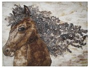 Felt Tapestries - Textiles Metal Prints - The Mane Affair Metal Print by Bonnie Nash