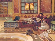 Harem  Paintings - The Manicure by Rudolphe Ernst