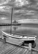 Boat Docks Framed Prints - The Manteo Waterfront 2bw Framed Print by Mel Steinhauer