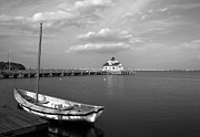 Shallowbag Bay Framed Prints - The Manteo Waterfront BW Framed Print by Mel Steinhauer