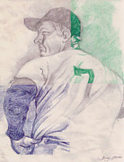 Baseball Art Drawings - The Mantle by Donald Jones