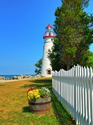 Picket Fences Photos - The Marblehead Lighthouse by Mel Steinhauer