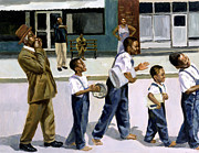 African American Paintings - The Marching Band by Colin Bootman