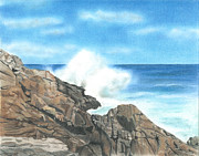 Maine Coast Drawings - The Marginal Way by Troy Levesque