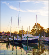 Boats At Dock Prints - The Marina at St Michaels Maryland Print by Bill Cannon
