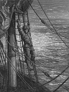 Illustration Drawings - The Mariner describes to his listener the wedding guest his feelings of loneliness and desolation  by Gustave Dore