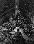 Dead Drawings Prints - The Mariner gazes on his dead companions and laments the curse of his survival while all his fellow  Print by Gustave Dore