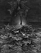 Literary Drawings Posters - The Mariner gazes on the ocean and laments his survival while all his fellow sailors have died Poster by Gustave Dore