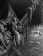 Monster Drawings Posters - The Mariner gazes on the serpents in the ocean Poster by Gustave Dore