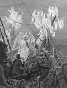 Ship Drawings Framed Prints - The mariner sees the band of angelic spirits Framed Print by Gustave Dore