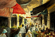 Marketplace Painting Prints - The Market place Print by Kim Hayes