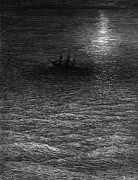 Dark Drawings Posters - The marooned ship in a moonlit sea Poster by Gustave Dore