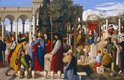 Oil Wine Framed Prints - The Marriage at Cana Framed Print by Julius Schnorr von Carolsfeld