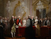 Bride And Groom Paintings - The Marriage of the Duke and Duchess of York by Henry Singleton