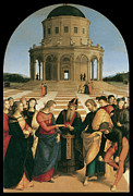 Virgin Mary Paintings - The Marriage of the Virgin by Raphael