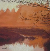 Browns Pastels Posters - The Marsh Before the Sun Breaks Poster by Harvey Rogosin