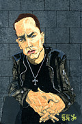 Eminem Painting Metal Prints - The Marshall Mathers AP - Eminem Metal Print by Ebenlo PainterOfSong