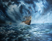 Warship Painting Posters - The Mary Rose And Fleet Poster by Jean Walker