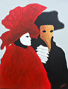 Mardi Gras Paintings - The Masquerade by JoNeL  Art