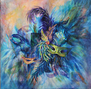 Mardi Gras Paintings - The Masques by Elaine Bailey