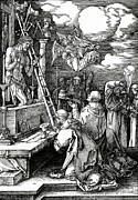 Kneeling Posters - The Mass of St. Gregory Poster by Albrecht Duerer