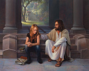 Jesus With Girl Posters - The Masters Touch Poster by Greg Olsen