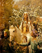 King Arthur Posters - The Maying of Queen Guinevere Poster by John Collier
