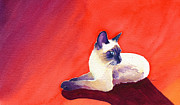 Siamese Cat Print Framed Prints - The Meezer Framed Print by Aura Lesnjak