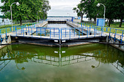 Lock Greeting Cards Posters - The Menasha Lock Along the Fox Wisconsin Heritage Parkway Poster by Carol Toepke