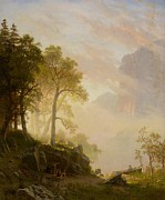 Mist Painting Posters - The Merced River in Yosemite Poster by Albert Bierstadt