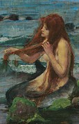 Sketch Painting Prints - The Mermaid Print by John William Waterhouse