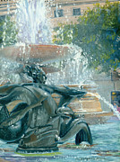 Trafalgar Paintings - The Mermaid of Trafalgar Square by Marguerite Chadwick-Juner
