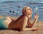 Beach  Art Paintings - The Mermaids Friend by John Silver