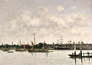 Boats At The Dock Posters - The Meuse at Dordrecht Poster by Eugene Louis Boudin