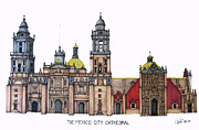 Historic Cathedrals Drawings Posters - The Mexico City Cathedral Poster by Frederic Kohli