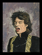 Printmaking Prints - The Mick 1994. Mick Jagger portrait from Vanity Fair Print by Cathy Peterson