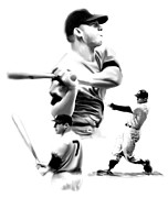 Athletes Drawings Framed Prints - The Mick  Mickey Mantle Framed Print by Iconic Images Art Gallery David Pucciarelli